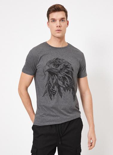 Koton Yazılı Baskılı T-Shirt Gri